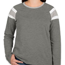 Augusta Women's Fanatic Long Sleeve T-shirt - Color: Slate / Athletic Heather / White