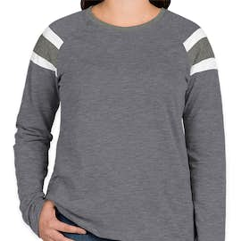 Augusta Women's Fanatic Long Sleeve T-shirt - Color: Navy / Slate / White