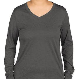 Sport-Tek Women's Long Sleeve Heather V-Neck Performance Shirt - Color: Graphite Heather