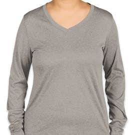 Sport-Tek Women's Long Sleeve Heather V-Neck Performance Shirt - Color: Vintage Heather