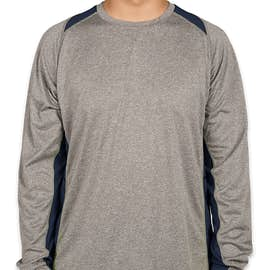 Sport-Tek Long Sleeve Heather Colorblock Performance Shirt - Color:  Vintage Heather / True Navy
