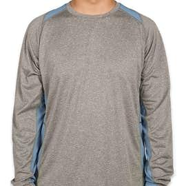 Sport-Tek Long Sleeve Heather Colorblock Performance Shirt - Color: Vintage Heather / Carolina Blue