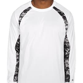 Badger Digital Camo Long Sleeve Performance Shirt - Color: White / Black