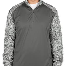 Badger Contrast Melange Quarter Zip Performance Shirt - Color: Graphite / Graphite Blend