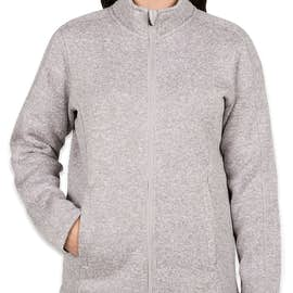 Devon & Jones Women's Full Zip Sweater Fleece Jacket - Color: Grey Heather