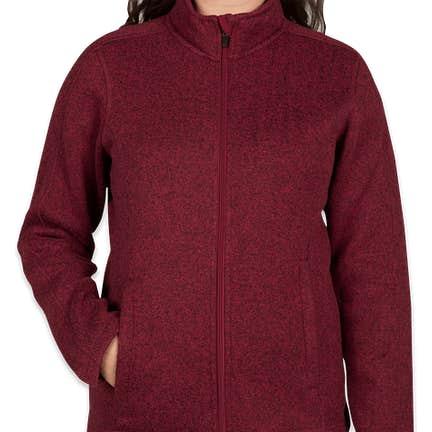 7797d05e03eb6 ... Devon   Jones Women s Full Zip Sweater Fleece Jacket - Color  Burgundy  Heather ...