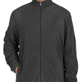 Port Authority Heather Microfleece Full Zip Jacket - Color: Black Charcoal Heather
