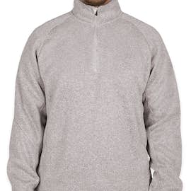 Devon & Jones Quarter Zip Sweater Fleece Pullover - Color: Grey Heather