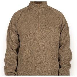 Devon & Jones Quarter Zip Sweater Fleece Pullover - Color: Khaki Heather