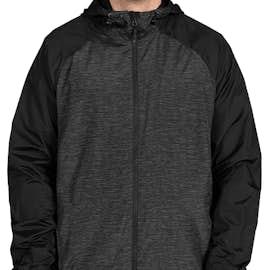 Sport-Tek Heather Raglan Hooded Full Zip Jacket - Color: Black Heather / Black