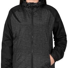 Sport-Tek Women's Heather Raglan Hooded Full Zip Jacket - Color: Black Heather / Black