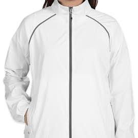 Elevate Women's Egmont Packable Contrast Zipper Windbreaker - Color: White / Steel Grey