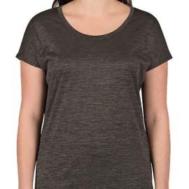 Sport-Tek Women's Electric Heather Performance Shirt - Color: Grey-Black Electric