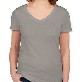 Threadfast Juniors Lightweight V-Neck Pigment Dyed T-shirt - Color: Grey