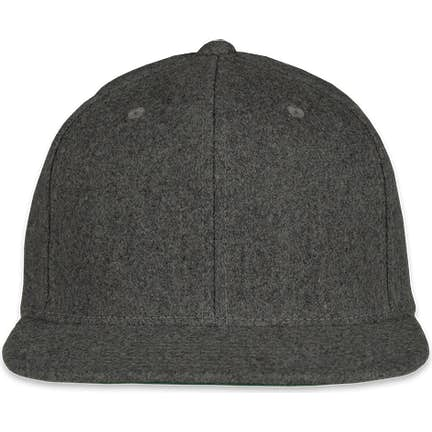 aac90798912aa1 ... Yupoong Wool Flat Bill Snapback Hat - Color: Dark Heather Grey ...