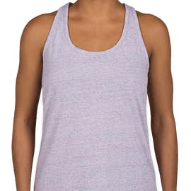 District Made Women's Cosmic Twist Back Tank - Color: White / Pink Cosmic