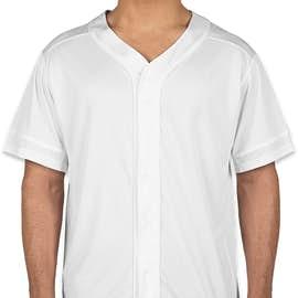 Augusta Slugger Full Button Baseball Jersey - Color: White / White