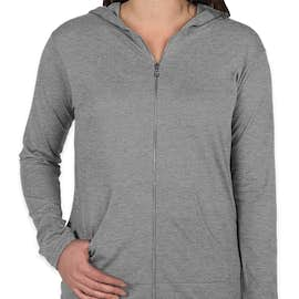 Anvil Women's Tri-Blend Full Zip T-shirt Hoodie - Color: Heather Grey