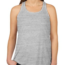Bella + Canvas Women's Flowy Melange Racerback Tank - Color: White Marble