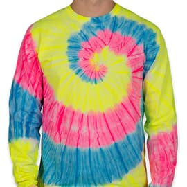 Port & Company Tie-Dye Long Sleeve T-shirt - Color: Neon Rainbow