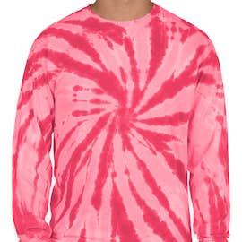 Port & Company Tie-Dye Long Sleeve T-shirt - Color: Pink
