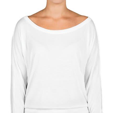 ff7f6f81636e ... Bella + Canvas Women's Flowy Long Sleeve Off Shoulder T-shirt - Color:  White ...