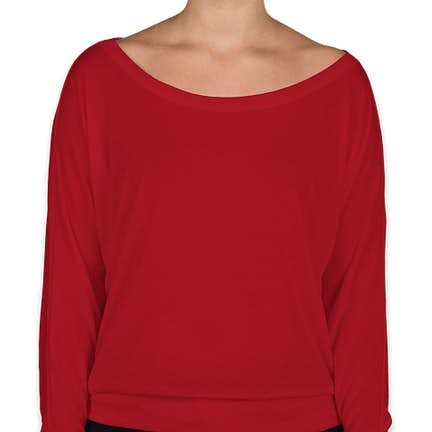 419a7f43ed7f ... Bella + Canvas Women's Flowy Long Sleeve Off Shoulder T-shirt - Color:  Red