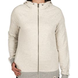 Champion Authentic Women's French Terry Zip Hoodie - Color: Oatmeal Heather / Oxford Grey