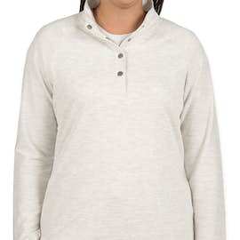 Charles River Women's Snap Button Pullover With Pockets - Color: Ivory Heather
