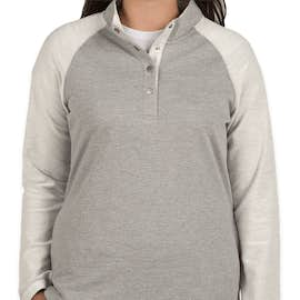 Charles River Women's Snap Button Pullover With Pockets - Color: Heather Grey