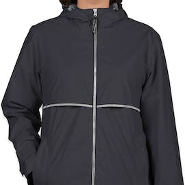 Charles River Women's New Englander Hooded Rain Jacket - Color: True Navy / Reflective