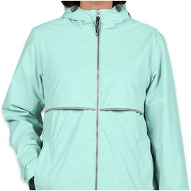 Charles River Women's New Englander Hooded Rain Jacket - Color: Aqua / Reflective