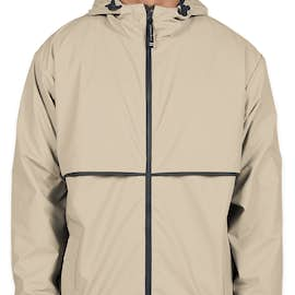 Charles River New Englander Hooded Rain Jacket - Color: Taupe / Navy