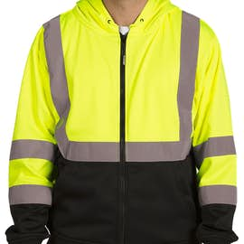 ML Kishigo Class 3 Hi-Vis Hooded Full Zip Sweatshirt - Color: Lime