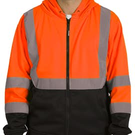 ML Kishigo Class 3 Hi-Vis Hooded Full Zip Sweatshirt - Color: Orange