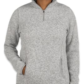 Charles River Women's Quarter Zip Sweater Fleece Pullover - Color: Light Grey Heather