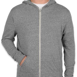 Threadfast Tri-Blend Full Zip T-shirt Hoodie - Color: Grey Triblend