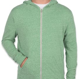 Threadfast Tri-Blend Full Zip T-shirt Hoodie - Color: Green Triblend