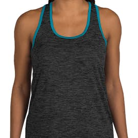 Sport-Tek Women's Electric Heather Racerback Tank - Color: Grey Black / Atomic Blue