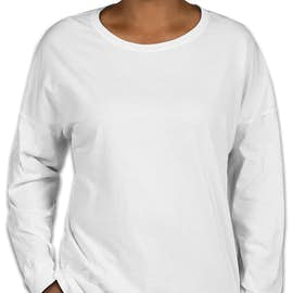 Comfort Colors Women's Drop Shoulder Long Sleeve T-Shirt - Color: White