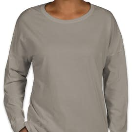 Comfort Colors Women's Drop Shoulder Long Sleeve T-Shirt - Color: Grey