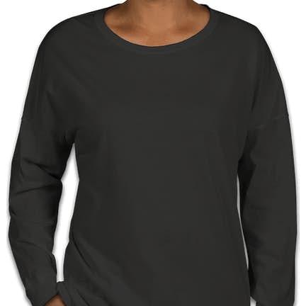 ce2f95f524a8 ... Comfort Colors Women's Drop Shoulder Long Sleeve T-Shirt - Color: Black  ...
