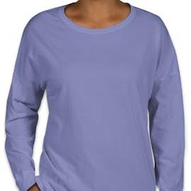 Comfort Colors Women's Drop Shoulder Long Sleeve T-Shirt - Color: Flo Blue