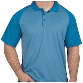 Sport-Tek Raglan Heather Color Block Performance Polo - Color: Pond Blue Heather / Pond Blue