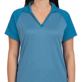 Sport-Tek Women's Raglan Heather Color Block Performance Polo - Color: Pond Blue Heather / Pond Blue