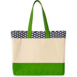 Large Gusseted Patterned Top Tote - Color: Navy / Natural / Green