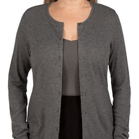 Port Authority Women's Full Button Cardigan Sweater  - Color: Charcoal Heather