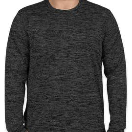 Sport-Tek Electric Heather Long Sleeve Performance Shirt - Color: Grey/ Black Electric