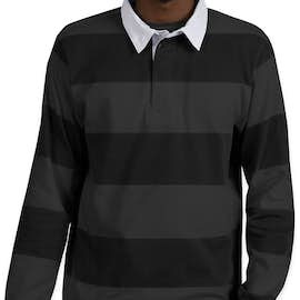 Charles River Classic Rugby Shirt - Color: Black / Grey