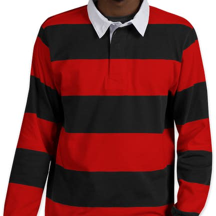 ... Charles River Classic Rugby Shirt - Color  Black   Red ... 859c6dde4